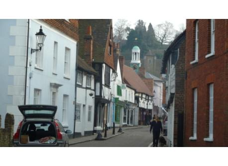 "Godalming - the cobbled street featured in the film ""Holiday"""