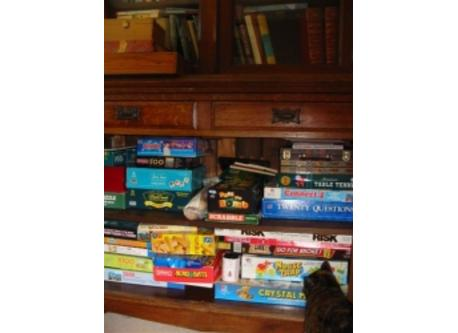 Cupboard full of games.  We also have many shelves of all kinds of books