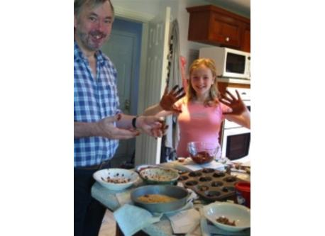 Sophie and Alan making cookies