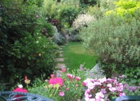 section of beautiful garden in spring
