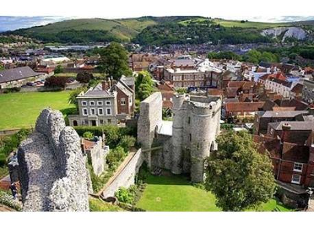 Lewes Castle is at the centre of town, 1km away from our house