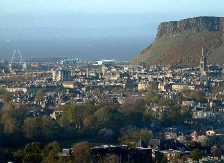 Old town in lee of Salisbury Crags