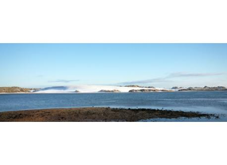 The view from our front garden with snow on the sand dunes.
