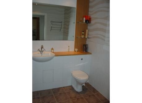 Main bathroom, with shower over bath.