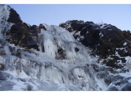 A frozen waterfall in Glenariff, Jan 2010. (7km).