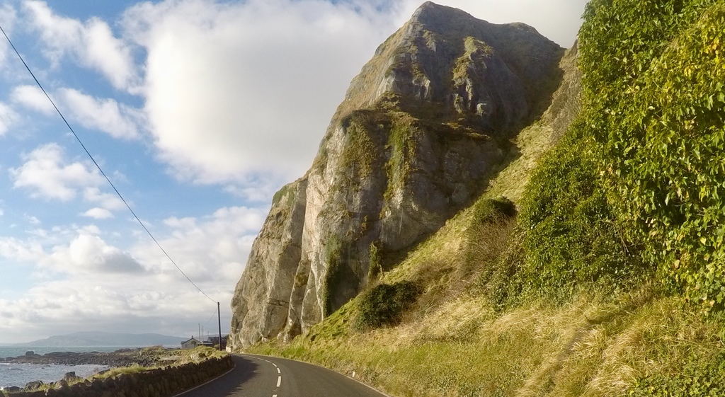 Our home is located by the Irish Sea, at the foot of these cliffs.