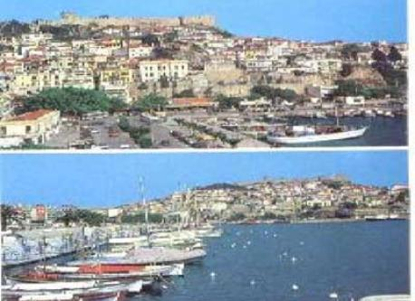 The city of Kavala with its port