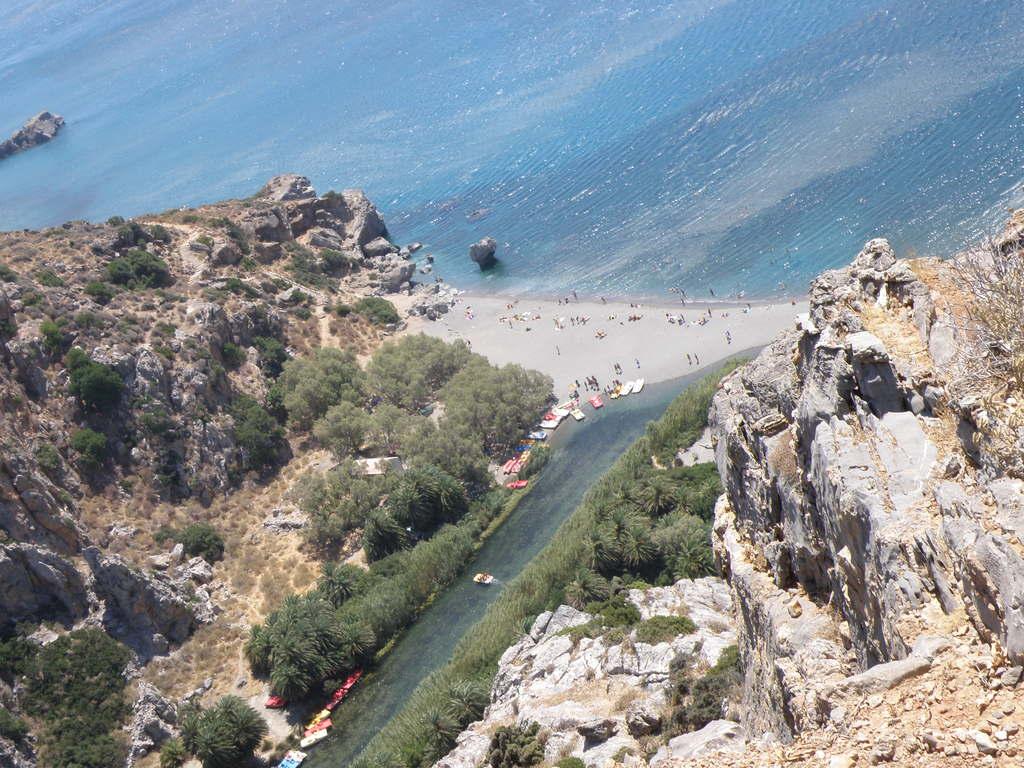 Preveli palm beach and river reach the sea
