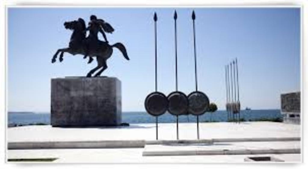 ALEXANDER'S THE GREAT STATUE AT THE HARBOUR OF THESSALONIKI