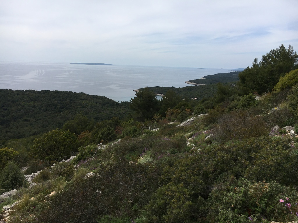 View to the island Susak from walking path starting in Mali Lošinj