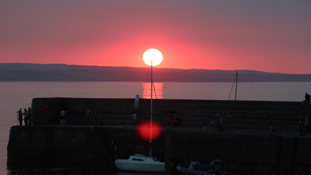 Sunset  at enniscrone pier looking towards lacken 18th June 2014