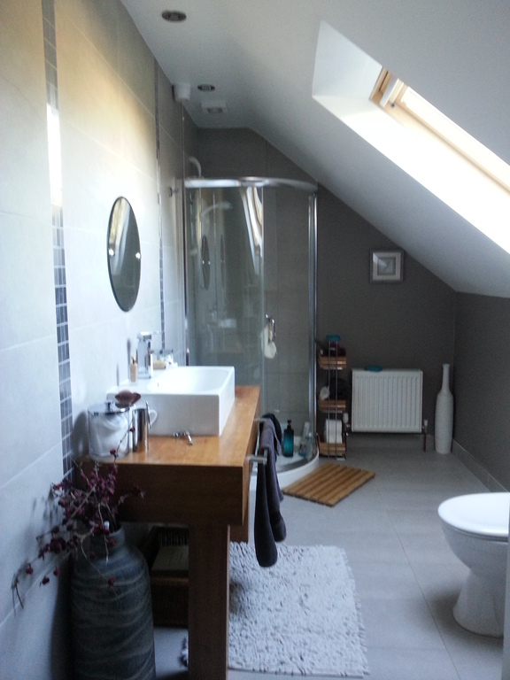 Upstairs bathroom with electric shower