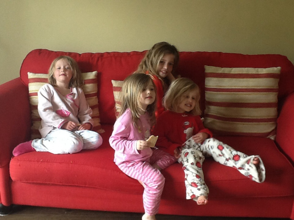Our four girls in their pjs!