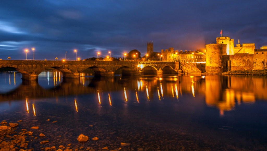 Limerick city with a view of King John's castle.  Limerick was Europe's city of culture for 2014.