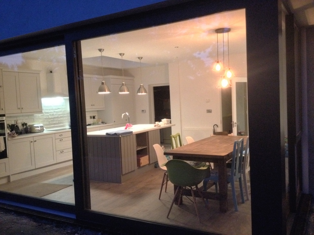kitchen at night from garden