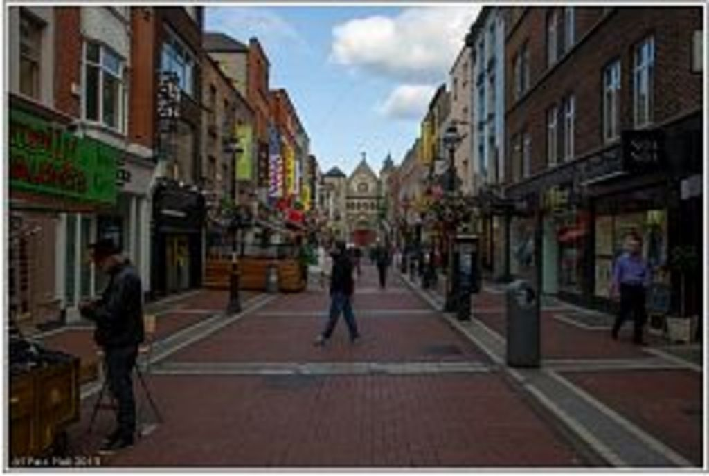 Grafton Street area in the city centre, pedestrian shopping
