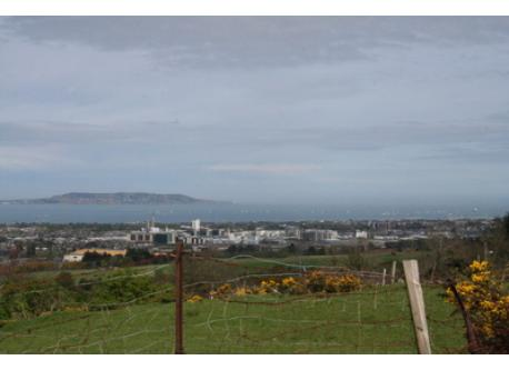 View of Dublin and the coast from the hills close to our house; 2 km away