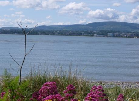 View across Dublin Bay from the north side, towards our area and the hills to the south of the city
