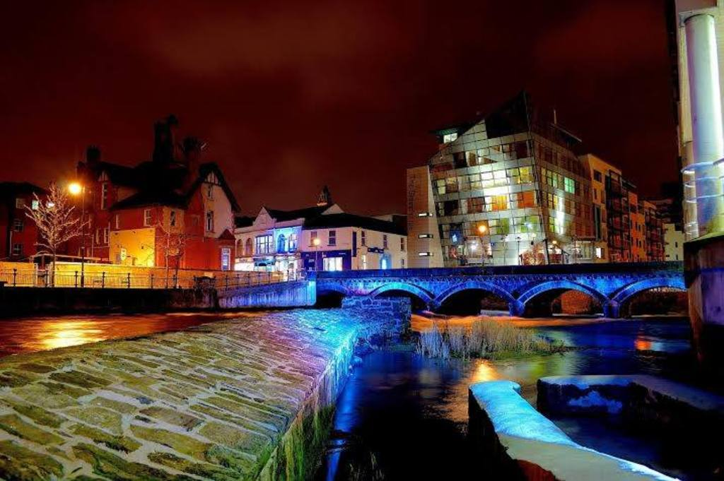 View of Sligo at night time