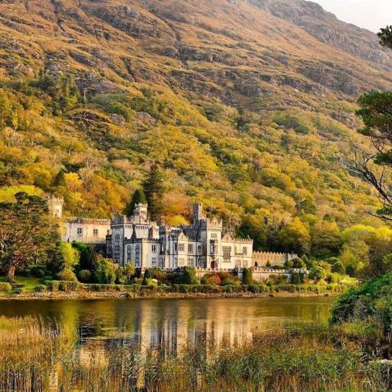 Kylemore Abbey (Benedictine monastery), Connemara, Co. Galway (2 hours, 15 mins).