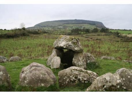 Just one of around 30 megalithic tombs which can be seen in Carrowmore today, with Knocknarea mountain in the background.