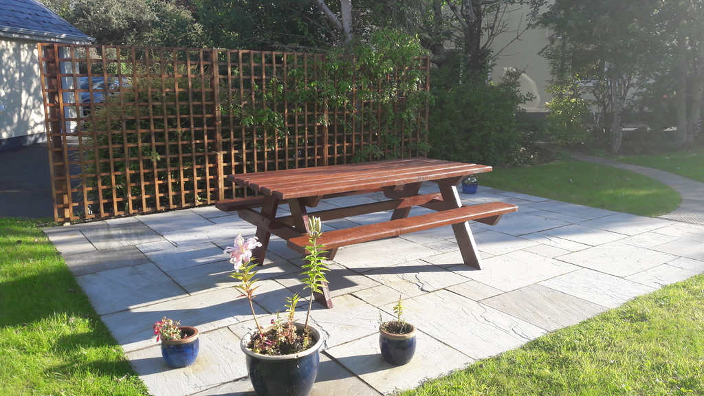 Patio with table