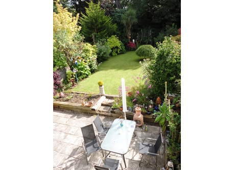 Large patio and tidy garden