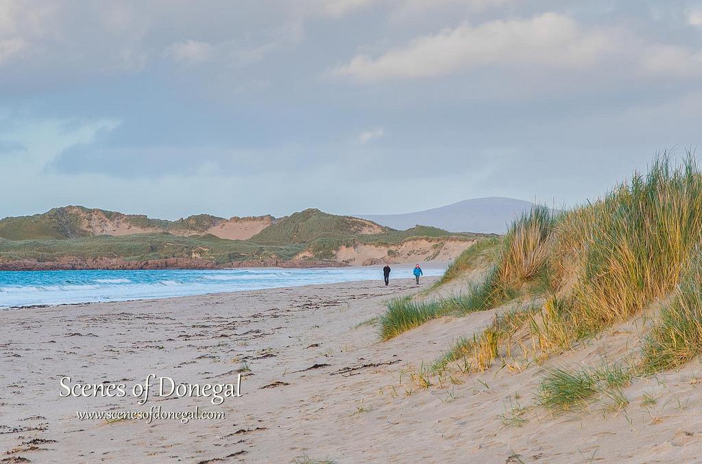 Strolling on Carrickfinn Beach- right beside our beach house