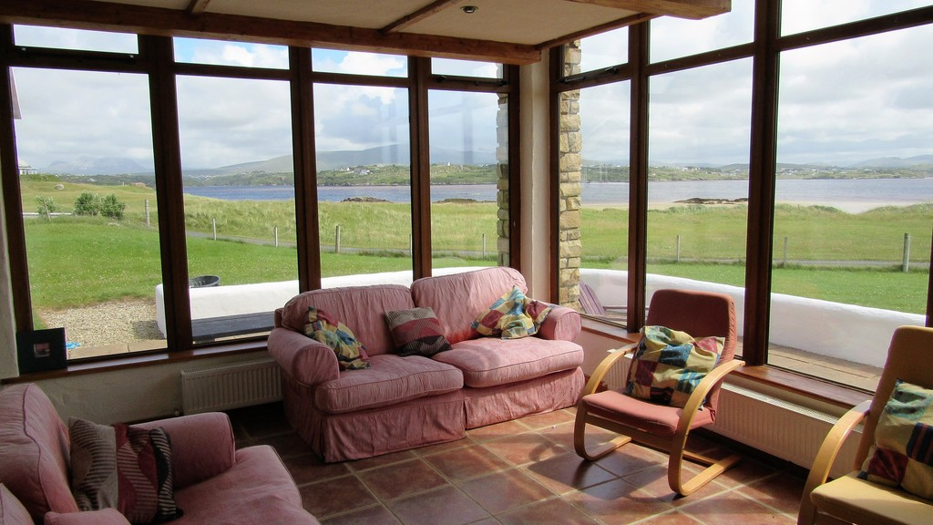 Living room and view to the south-east over Errigal mountain and  beach