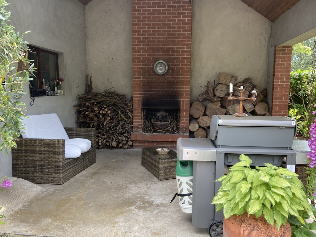 Outdoor fire and BBQ area.