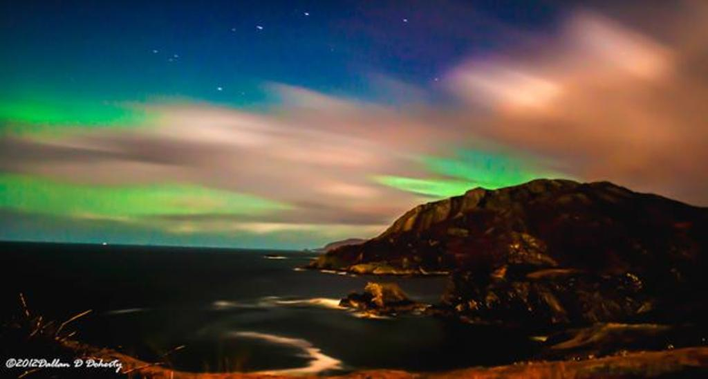Northern Lights (Aurora Borealis) over Dunaff Head (15km) in 2013 [ © Dallan Doherty ]