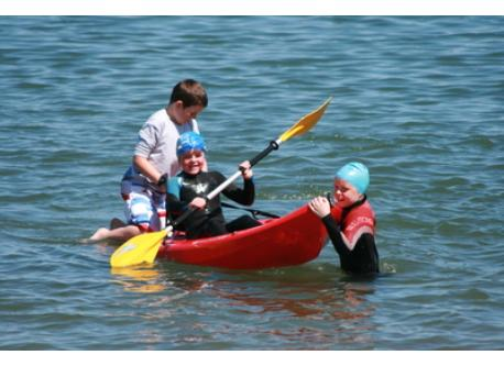 Having fun with the Kayak in Wicklow Harbour