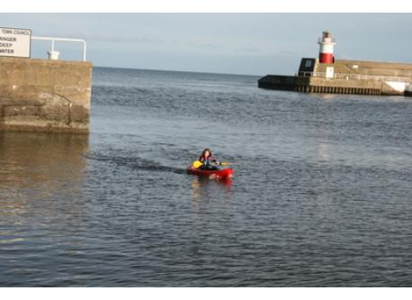 Aine in our Kayak in Wicklow Harbour