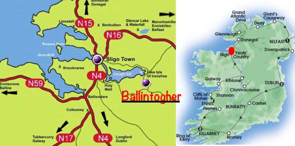 Map showing our location & Map of Ireland showing Sligo