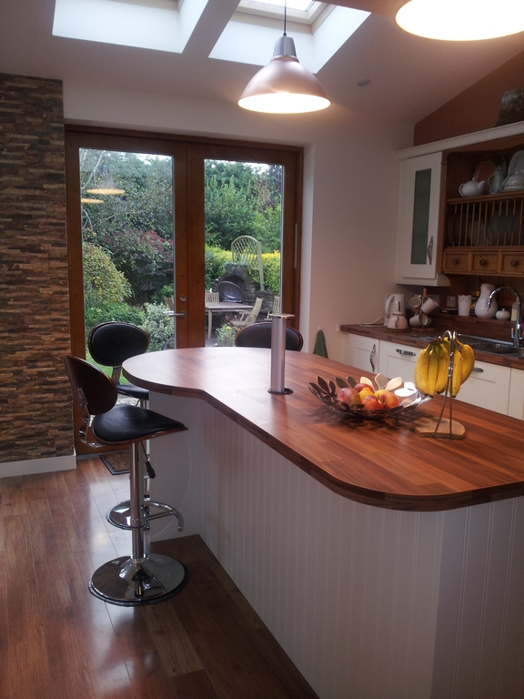 kitchen with patio doors to garden