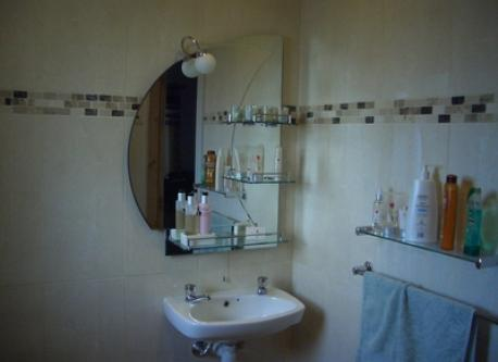 fully accessible wheelchair wetroom with hand rail and shower.
