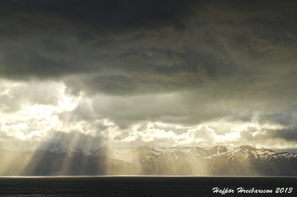 Picture taken from Húsavík, overlooking the bay and the mountains across.