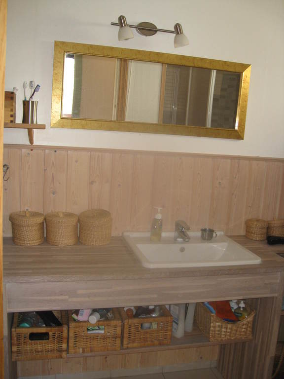 Bathroom with tub and shower.