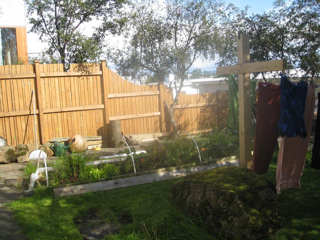 Vegetable garden and washing line behind house. A sunny, peaceful spot.
