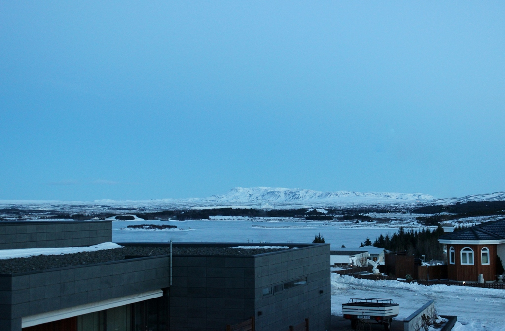 "The view from our balcony, Lake ""Elliðavatn"""