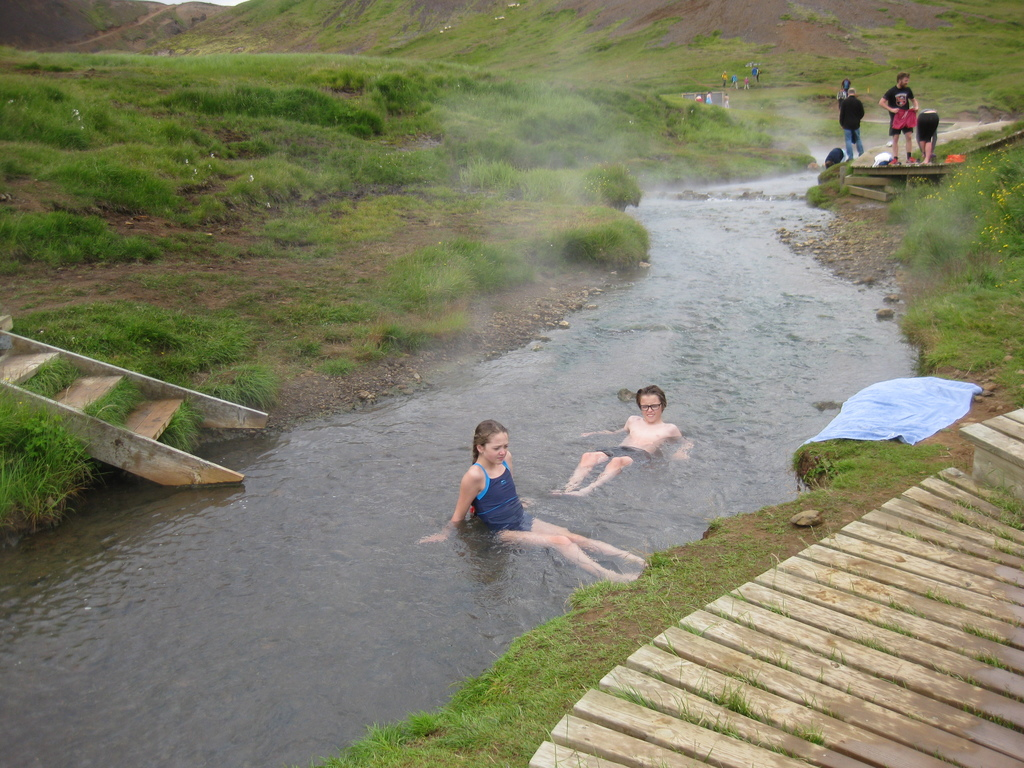 Our kids, in warm river close to Hveragerdi (40 km)