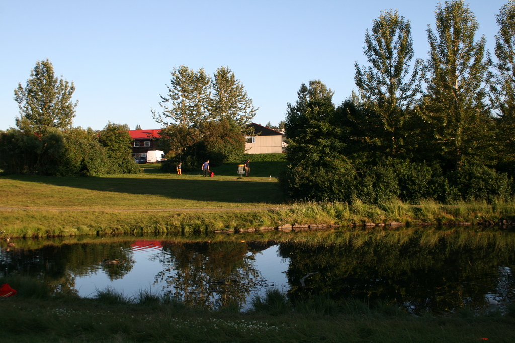 Our house seen from the pond. Frisbeegolf course just outside our house.