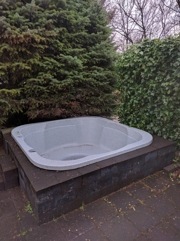 The outdoor hot tub