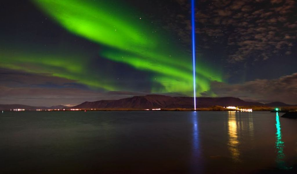 The Imagine Peace Tower in Videy island, Reykjavik, is a work of art conceived by the legendary artist, musician and peace ad...