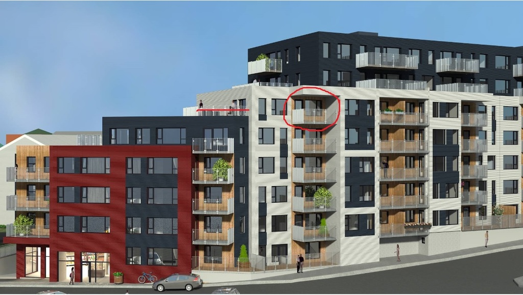 Our apartment is on the 6th floor with two balconies (the red line and circle)