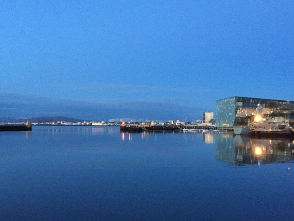 Midsummer night in Reykjavik, overlooking Harpa music hall from the old harbour.