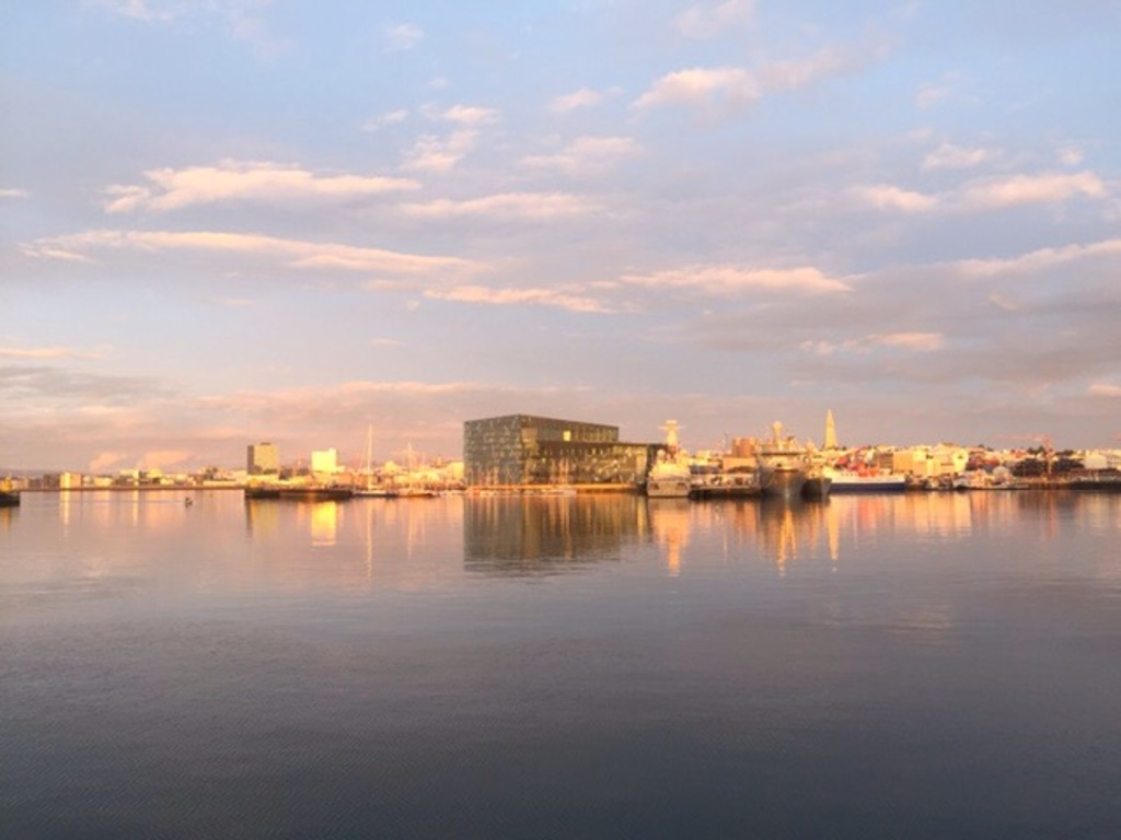 In 15 minutes walking distance from our home you can take a snapshot like this. From the old harbour, Harpa music hall.