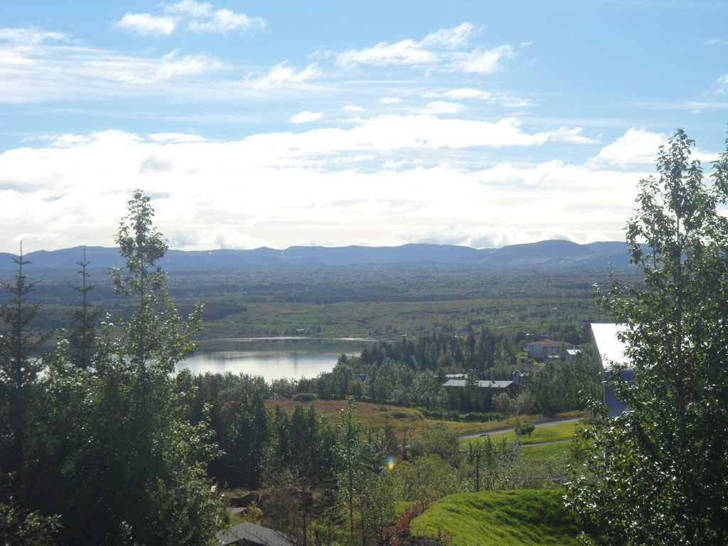 View from our living room over lake Elliðavatn