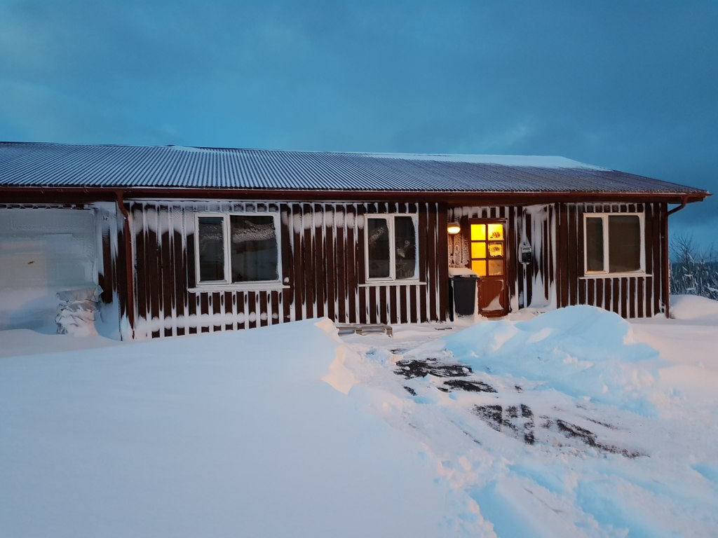 The front of the house at winter time.
