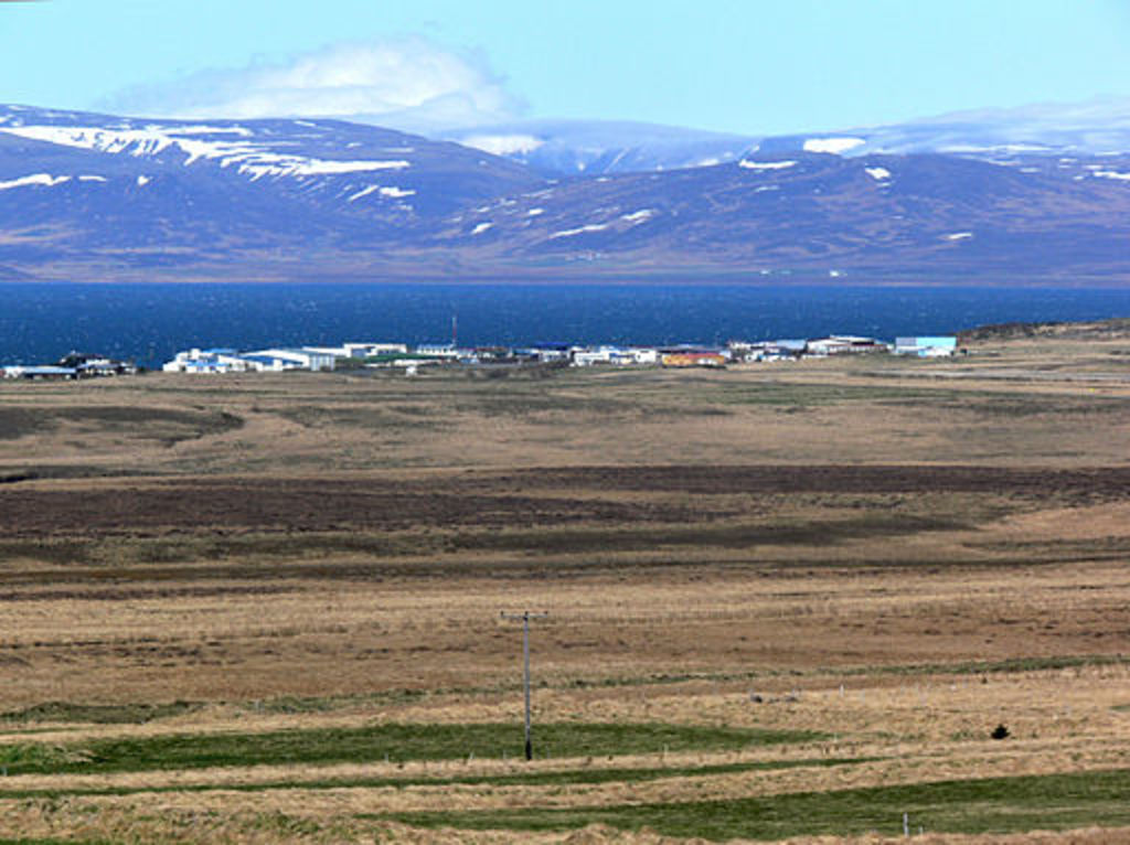 Búðardalur seen from another angle, with mountains in the background